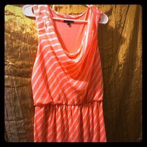 Express dress orange and white